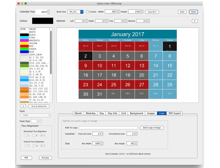 Pyxis Calendar GUI