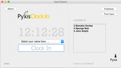 Pyxis Clock:In Main Window
